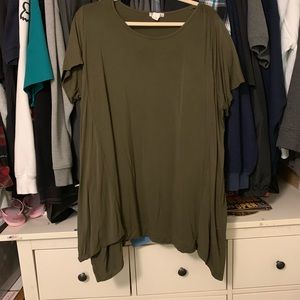 Army green shark bite boutique top